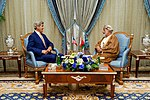 Secretary Kerry Sits With Omani Foreign Minister Yusuf bin Alawi bin Abdullah in the Royal Terminal 1 at King Abdulaziz International Airport in Jeddah (28934601420).jpg