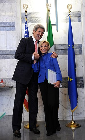 Emma Bonino - Emma Bonino with the U.S. Secretary of State John Kerry, before their meeting in Rome.