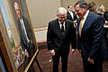 Secretary of Defense Leon E. Panetta, right, and former Secretary of Defense Robert M. Gates, left, share a laugh at the portrait unveiling ceremony for Gates at the Pentagon on Oct 121029-D-TT977-171.jpg