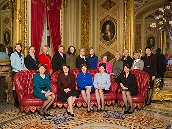 By the 111th United States Congress (2009-2011), the number of women senators had increased to 17, including 4 Republicans and 13 Democrats Senate women March 2009.jpg