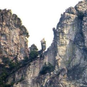 "Seneca Rocks - ""The Gendarme"" in a 1975 photo"
