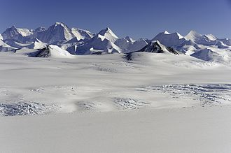 Ellsworth Mountains - The central part of Ellsworth Mountains with Mount Tyree, Mount Shinn and Mount Vinson; Nimitz Glacier in the foreground