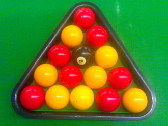 Blackball (pool) - The rack set-up. Note the pattern of reds and yellows (colours can be reversed)