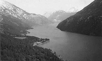 Seton Lake - Seton Lake from Mission Mountain, c. 1950 Shalalth and Ohin on points at left.  Looking west towards Mount Brew and Lillooet