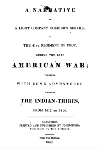 Shadrack Byfield - Title page of A Narrative of a Light Company Soldier's Service (1840)