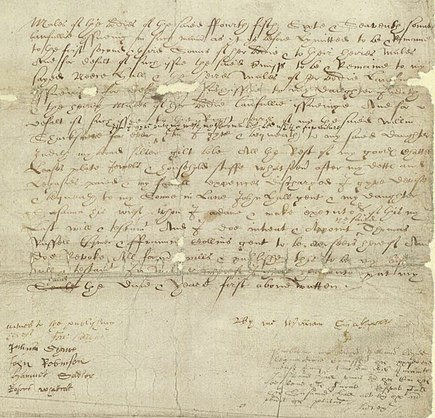 William Shakespeare's will, written in secretary hand Shakespeare-Testament.jpg