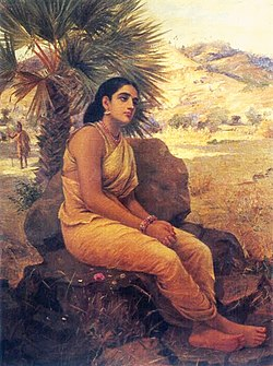 Shakuntala lost in Dushyanta's thoughts.jpg