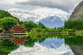 Lower Kachura Lake - View of the lakeside Shangri-La Resort