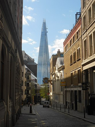The Shard - The Shard pictured from Great Tower Street in April 2012