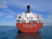The chemical tanker Sichem Princess Marie-Chantal had Panama City as its port of registry when this 2005 picture was taken but as of 2007 it is registered in Valetta with Maltese flag. It was the property of Eitzen Chemical (Singapore) and has the ITF Special Agreement on board.
