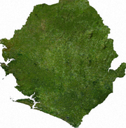Satellite image of Sierra Leone, generated from raster graphics data supplied by The Map Library