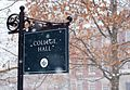Sign for College Hall during a snowstorm at Smith College.jpg