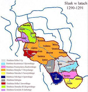 Duchy of Teschen - Silesia duchies in 1290-91: Teschen under Mieszko I in yellow