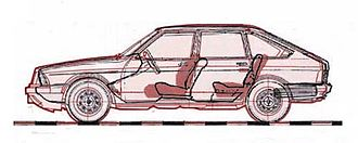 Aleko - Comparison between the body design of the Simca 1307 (black) and the Aleko (red)