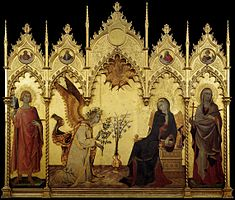 Captivant Simone Martini, Lu0027Annonciation, Galerie Des Offices, Tempera Sur Bois. Images