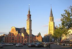 Sint Truiden Grote Markt  with eighteenth-century Stadhuis and Lievenvrouwenkerk