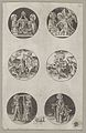 Six Roundel Patterns for a Goldsmith- the Coronation of the Virgin, God the Father with the Body of Christ, St. Eustace or St. Hubert, the Conversion of St. Paul, Charlemagne and St. Helen, and St. Elizabeth MET DP834426.jpg
