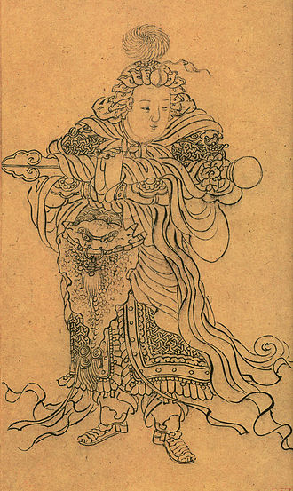 Skanda (Buddhism) - Image: Skanda detail heart sutra zhao mengfu