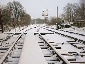 The wrong type of snow - A layer of snow on railway tracks on the East Lancashire Railway