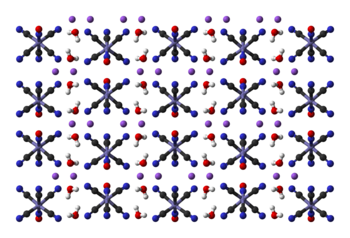Ball-and-stick model of part of the crystal structure of sodium nitroprusside dihydrate