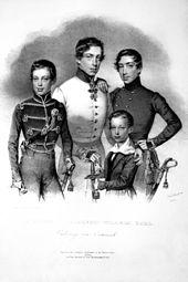 Die Söhne des Erzherzog Karl: Albrecht, Karl, Friedrich und Wilhelm, Lithographie von Josef Kriehuber, 1835 (Quelle: Wikimedia)
