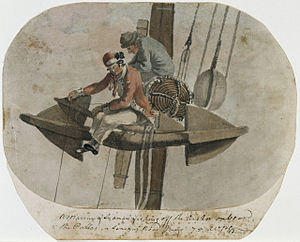 French ship Héros (1778) - Marine and sailor at rest - Héros lost 40% of her crew over the three years of the campaign.