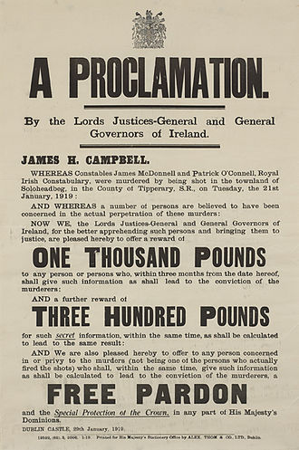 Soloheadbeg - A proclamation offering a reward of 1000 pounds for information leading to the capture of those involved in the Soloheadbeg ambush