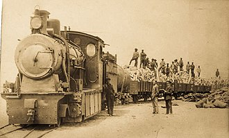 South West African 2-8-0 - Eight-coupled Tender with auxiliary water tank wagon on a trainload of whale bones, Walvisbaai, c. 1925
