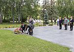 Soyuz TMA-17M crew lays flowers in front of the statue of Yuri Gagarin in Star City.jpg