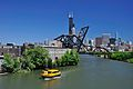 St. Charles Air Line Bridge and Chicago skyline with water taxi in foreground.jpg