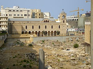 Berytus - Roman ruins of Berytus, in front of St. George's Cathedral in modern-day Beirut
