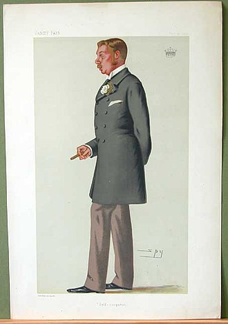 """St George Lowther, 4th Earl of Lonsdale - """"Self-conquest"""". Caricature by Spy published in Vanity Fair in 1879"""
