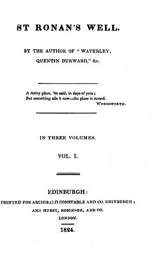 Saint Ronan's Well - First edition title page.