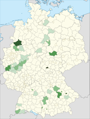 Albanians in Germany - Map of where the Albanian community (mainly from kosovo) is concentrated in Germany