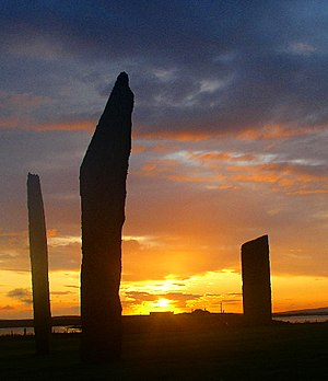 Standing Stones of Stenness - Sunset at the Standing Stones of Stenness