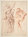 Standing Woman Holding a Spindle, and Head of a Woman in Profile to Right MET DP808443.jpg