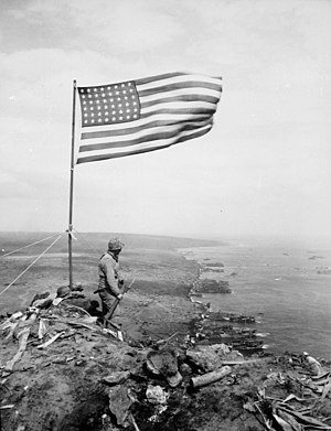 U.S. flag over Mount Suribachi