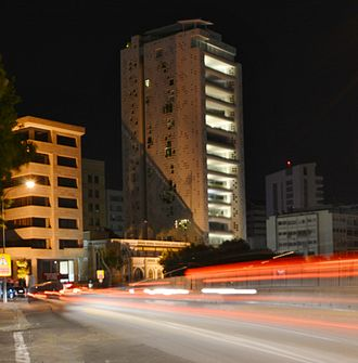 Tower 25 - Tower 25 by night from Stasinou avenue.