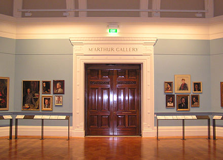 Entrance to the McArthur Gallery on Swanston Street, which was the first permanent home of the collection, now home to the painting collection of the State Library of Victoria. State Library of Victoria (McArthur Gallary).jpg