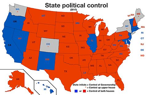 State Political Control Governor And Chambers 2017