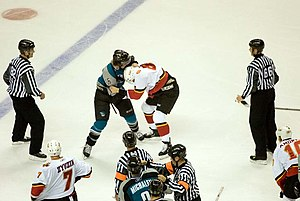 Steve Bernier - Bernier fighting Calgary Flames defenceman Brad Ference as a member of the Sharks
