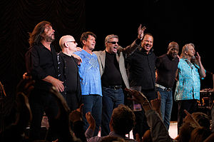 Norton Buffalo - Norton Buffalo (far right, in the blue-green shirt) on his last tour with the Steve Miller Band during the summer of 2009.