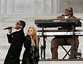 Stevie Wonder, Usher and Shakira at the Obama inauguration, 2009.jpg