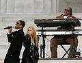 Stevie Wonder, Usher and Shakira at the Obama inauguration, 2009.jpg