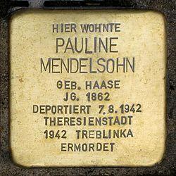 Photo of Pauline Mendelsohn brass plaque