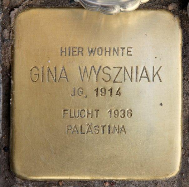 Datei:Stolperstein Bleibtreustr 7 (Charl) Gina Wyszniak.jpg