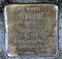 Photo of Henriette Wolff brass plaque