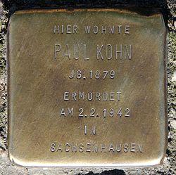 Photo of Paul Kohn brass plaque