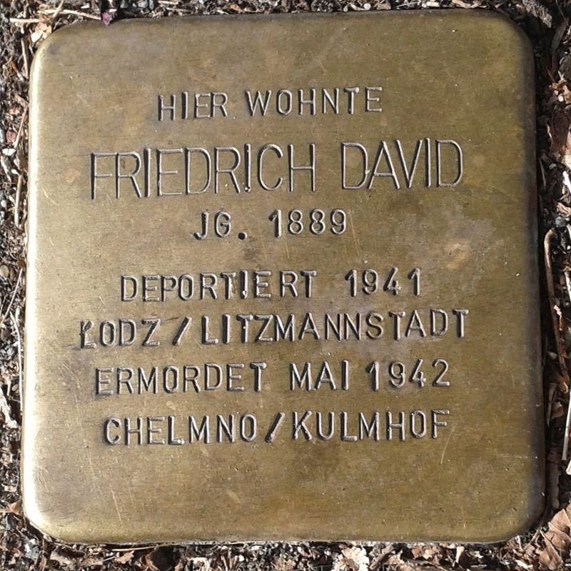 Stolperstein für Friedrich David (Dünnwalder Straße 25)