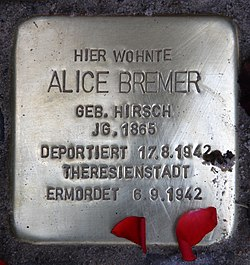 Photo of Alice Bremer brass plaque